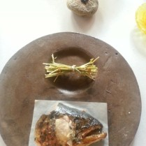 head of smoked salmon and shavings of liquorice