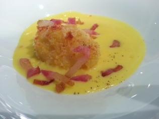 crema di riso Ecorì con uovo croccante e guanciale di cinta senese di Paolo Parisi